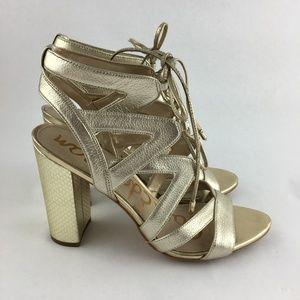 97501cad6 Sam Edelman Shoes - Sam Edelman Yardley Gold Lace Up Heel Sandals 9